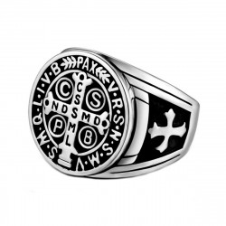 BA0290S BOBIJOO Jewelry Siegelring Ring Kreuz St. Benedikt Patina Silber