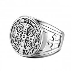 BA0291S BOBIJOO Jewelry Siegelring Ring Kreuz St. Benedikt Brutto-Geld