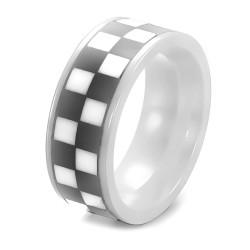 BA0223 BOBIJOO Jewelry Ring Ring Pad Mosaic Checkerboard Ceramic