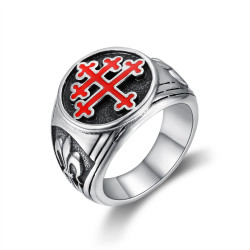 BA0293 BOBIJOO Jewelry Bague Chevalière Croix de Lorraine Rouge Fleur de Lys