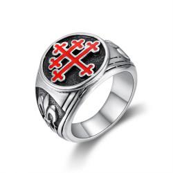 BA0293 BOBIJOO Jewelry Ring Signet ring Cross of Lorraine, Red Fleur de Lys