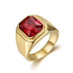 BA0294 BOBIJOO Jewelry Ring Signet Ring Cabochon Square Steel Gold Fake Ruby