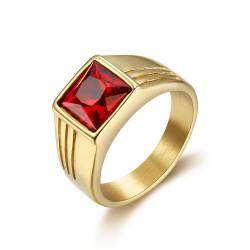 BA0296 BOBIJOO Jewelry Ring Signet Ring Cabochon Discrete Square Steel Gold Ruby