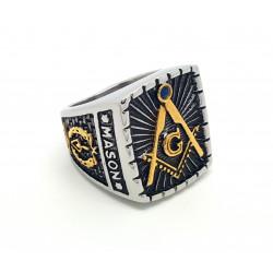 BA0027 BOBIJOO Jewelry Chevalière Bague Maître Franc Maçon Maçonnerie Masonic Freemason Master Acier Inoxydable