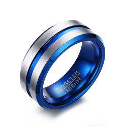 BA0300 BOBIJOO Jewelry Ring, Signet Ring Men's Wedding Ring Tungsten Silver Blue