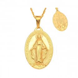 Petit Pendentif Médaillon Vierge Marie Acier Or Doré bobijoo