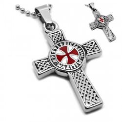 PE0153 BOBIJOO Jewelry Anhänger Templer Lateinischen Kreuzes Pattée Symbol + Kette