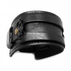 Bracelet de Force Cuir Noir Véritable bobijoo