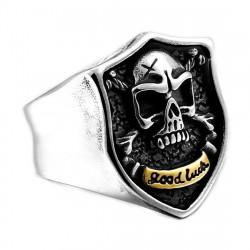 BA0274 BOBIJOO Jewelry Ring Signet ring Skull Biker Crossbones Death's Head Steel Gold