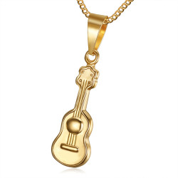 Petit Discret Pendentif Guitare Acier Inoxydable Doré Or bobijoo