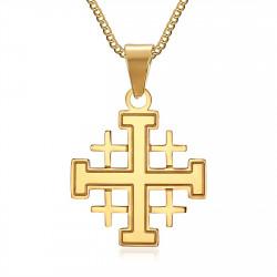 PE0181 BOBIJOO Jewelry Anhänger, Mann-Templer-Ordens Tempel Kreuz Zu Jerusalem Vergoldet