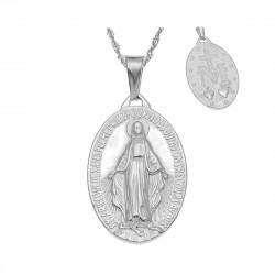 PEF0047S BOBIJOO Jewelry Kleine Anhänger Medaillon Mit Der Jungfrau Maria Stahl Silber