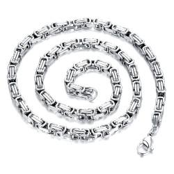 COH0010 BOBIJOO Jewelry Necklace Curb Chain Mesh Byzantine Steel Silver