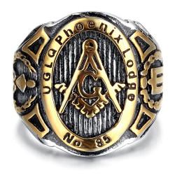 BA0041 BOBIJOO Jewelry Chevalière Bague Franc-Maçonnerie UGLQ PHOENIX LOGDE 85 Or Fin