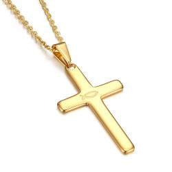 PE0185 BOBIJOO Jewelry Cross pendant Evangelical Ichthus Fish Jesus Gold 39mm