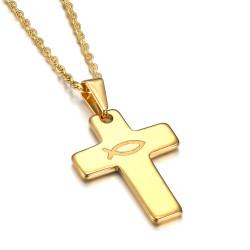 Pendentif Croix Evangélique Ichthus Poisson Jesus Or 28mm bobijoo