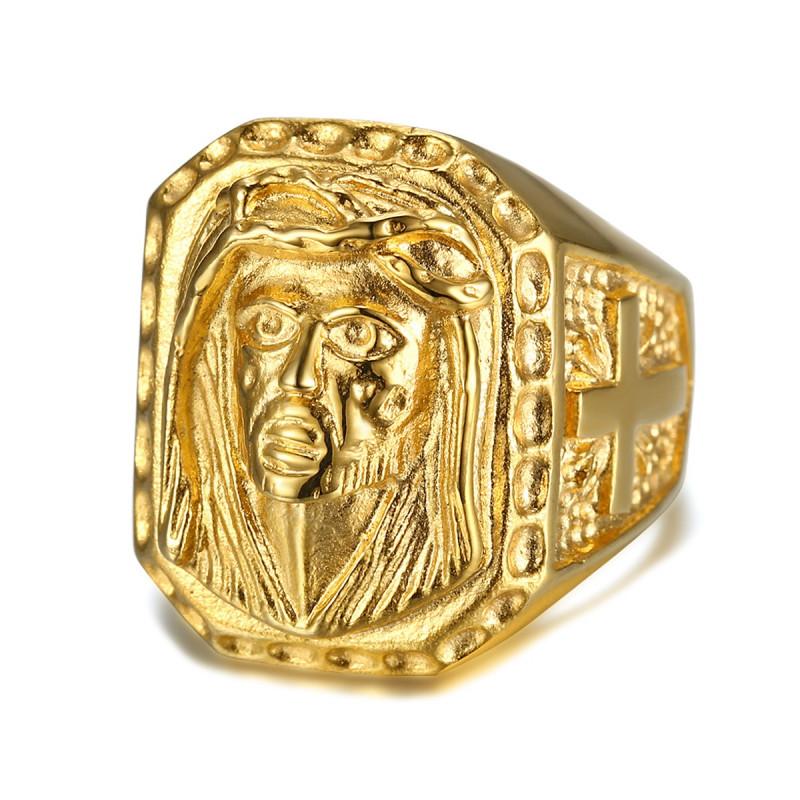 BA0243 BOBIJOO Jewelry Big Signet Ring Head Jesus Steel Gold Cross