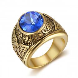 BA0304 BOBIJOO Jewelry Ring Signet Ring Man United States Navy Gold Black Blue