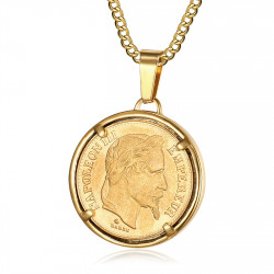 PE0188 BOBIJOO Jewelry Pendant Coin Napoleon III Louis Steel Gold