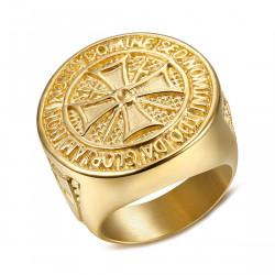 BA0308 BOBIJOO Jewelry Ring Knight Order Templar Crude Steel Plated Golden Gold