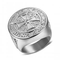BA0309 BOBIJOO Jewelry Ring Knight Order Templar Crude Steel, Silver