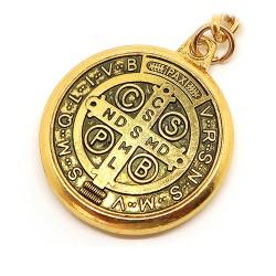 Porte-Clés Religieux Médaille Croix Saint Benoît Doré bobijoo