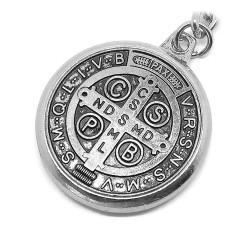 PCL0006 BOBIJOO Jewelry Porte-Clés Religieux Médaille Croix Saint Benoît Argenté