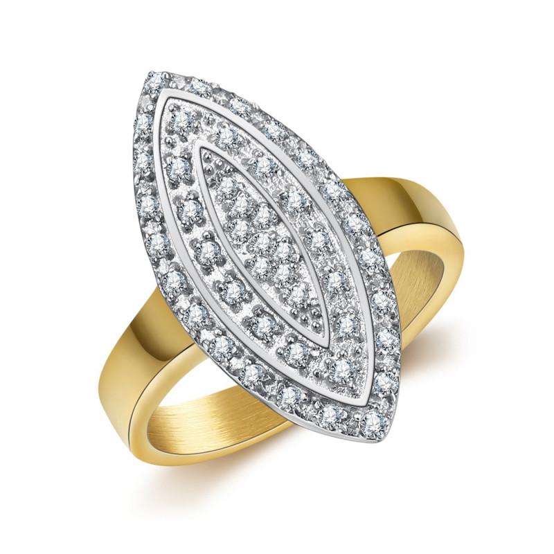 BAF0041 BOBIJOO Jewelry Ring Marquise Plated Gilt Gold Steel Zirconium