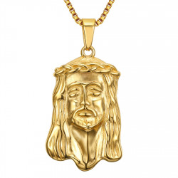 PE0129 BOBIJOO Jewelry Anhänger Kopf von Jesus Christus Stahl-Gold + Kette
