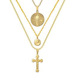 PEF0044 BOBIJOO Jewelry Alle 3 Anhänger Halsketten Ketten Stahl Gold Catholic