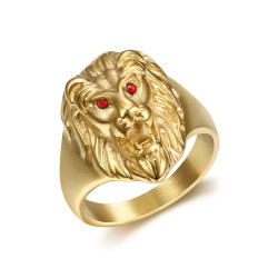 Discrète Chevalière Bague Tête de Lion Or Yeux Rouges bobijoo