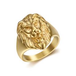 BA0315 BOBIJOO Jewelry Discreet Signet Ring Lion Head Steel Gold Child