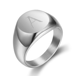 BA0263 BOBIJOO Jewelry Signet Ring Man Initial Engraved Steel 316 Silver