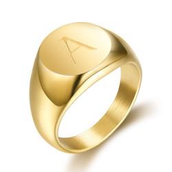 BA0264 BOBIJOO Jewelry Signet Ring Man Initial Engraved Steel 316 Golden Gold