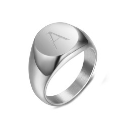 BAF0036 BOBIJOO Jewelry Signet Ring Woman Initial Engraved Steel 316 Silver