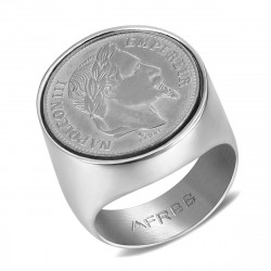 BA0314S BOBIJOO Jewelry Signet ring stainless Steel Napoleon III 20 Frs Round Hollow Silver