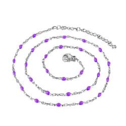 Collier Minimaliste Acier Email Couleur au Choix 43cm bobijoo