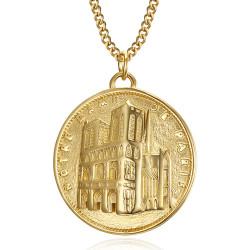 PE0190 BOBIJOO Jewelry Pendant Our Lady of Paris Steel Gold