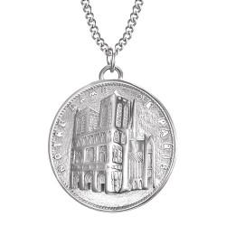 PE0191 BOBIJOO Jewelry Pendant Our Lady of Paris Steel Silver