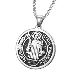 PE0105 BOBIJOO Jewelry Anhänger Medaille von St. Benedikt Stahl Schutz