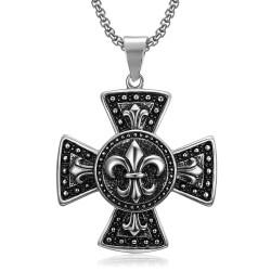 Large Médaillon Pendentif Croix Pattée Templier Lys bobijoo