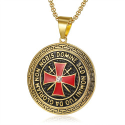 PE0192 BOBIJOO Jewelry Pendant Templar Steel Gold Cross Non Nobis