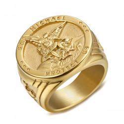 BA0320 BOBIJOO Jewelry Ring Siegelring Menschen Schutz St. Michael Überzogen