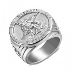 BA0321 BOBIJOO Jewelry Ring Siegelring Menschen Schutz St. Michael Silber