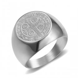 BA0323 BOBIJOO Jewelry Ring Siegelring Mann-Medaille St. Benedikt Silber