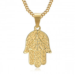 PEF0055 BOBIJOO Jewelry Hand of fatma necklace Stainless steel Gold with chain 55cm