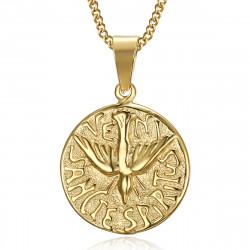 PE0195 BOBIJOO Jewelry Pendant Necklace Veni Sancte Spiritus Pentecost Steel Gold