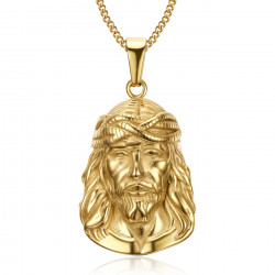 Pendentif Tête de Christ Jésus Voyageur Acier Or bobijoo