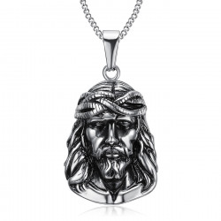 PE0203 BOBIJOO Jewelry Anhänger Kopf von Christus Jesus Reisender Stahl