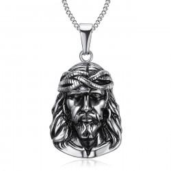 Pendentif Tête de Christ Jésus Voyageur Acier bobijoo